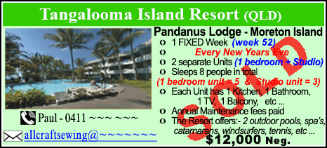 Tangalooma Island Resort  - $12000 - SOLD