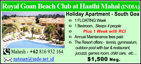 Royal Goan Beach Club at Haathi Mahal - $1500